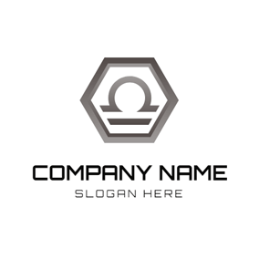 Gray Hexagon and Libra Sign logo design