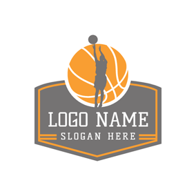 Gray People and Yellow Basketball logo design