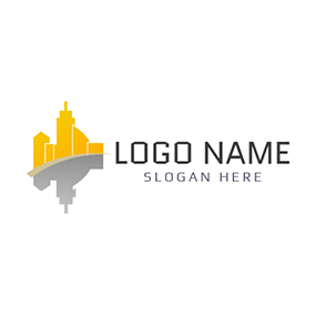Gray Reflection and Yellow Architecture logo design