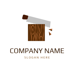 Gray Saw and Brown Trunk logo design