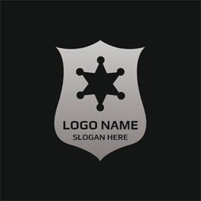 Gray Shield and Black Star logo design