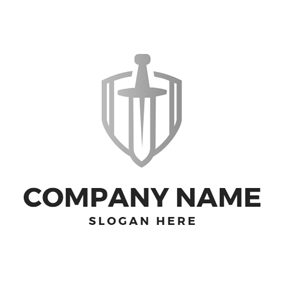 Gray Shield and Sword logo design