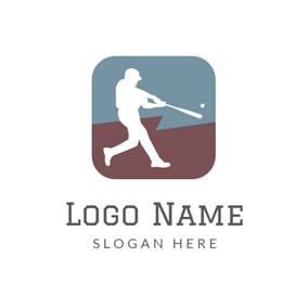 Gray Square and White Ballplayer logo design