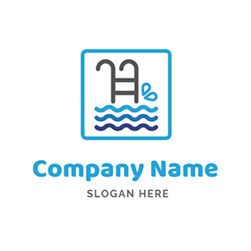 Gray Swimming Pool Icon logo design