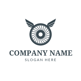 Gray Wheel and Wings logo design