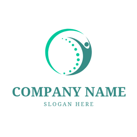 Green Abstract Spine and Human Icon logo design