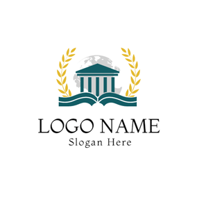 Green Academic Building and Opened Book logo design