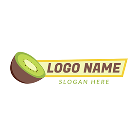 Green and Beige Half Kiwi logo design