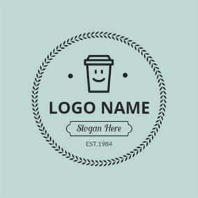 Green and Black Coffee Cup logo design