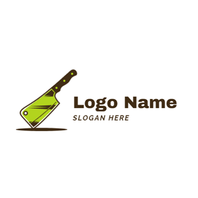 Green and Black Kitchen Knife logo design