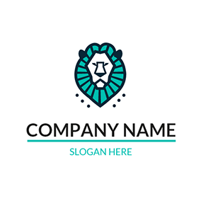 Green and Black Lion Head logo design
