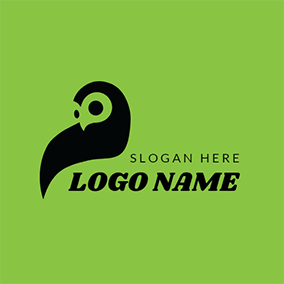 Green and Black Owl Icon logo design