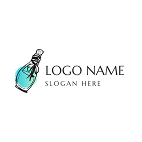 Green and Black Perfume Bottle logo design