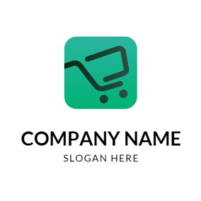 Green and Black Shopping Cart logo design