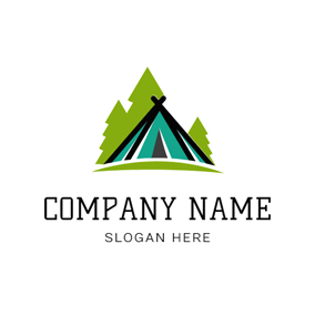 Green and Black Tent logo design