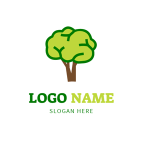Green and Blue Brain Icon logo design