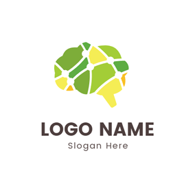 Green and Blue Brain logo design