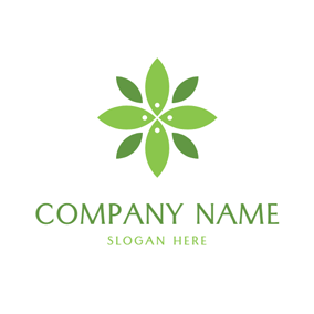 Green and Blue Leaf Icon logo design