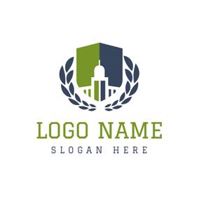 Green And Blue Symmetric Graph Logo Design