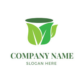 Green and Blue Tea Cup logo design
