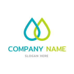 Green and Blue Water Drop logo design