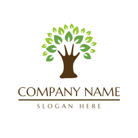 Green and Brown Tree logo design