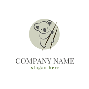 Green and Gray Koala Icon logo design