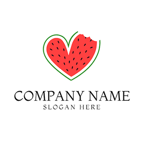 Green and Red Heart Watermelon logo design