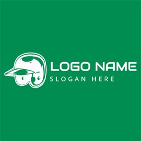 Green and White Baseball Cap logo design