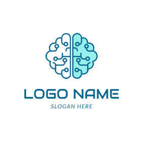 Green and White Brain logo design