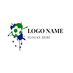 Green and White Football Icon logo design