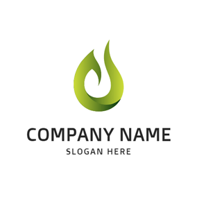 Green and White Gas Icon logo design