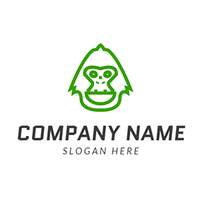 Green and White Gorilla Head logo design