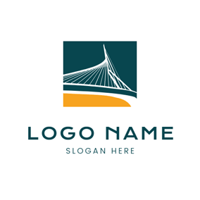 Green and White Lines Bridge logo design