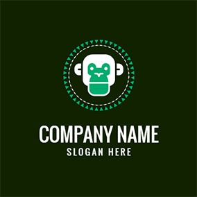 Green and White Monkey logo design