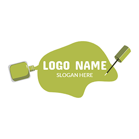 Green and White Nail Polish logo design