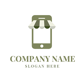 Green and White Phone Icon logo design