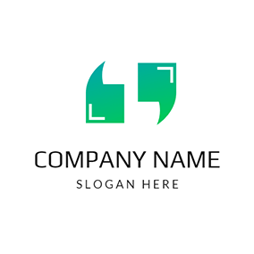 Green and White Quote logo design