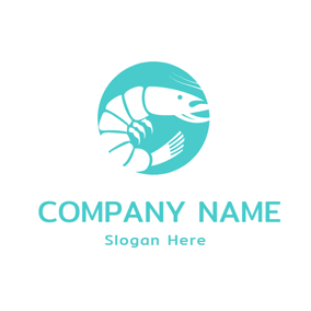 Green and White Shrimp logo design