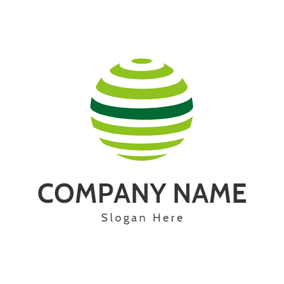 Green and White Stripe Sphere logo design