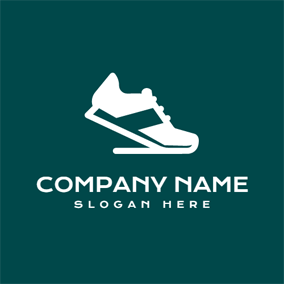 Green and White Track Shoe logo design