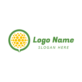 Green and Yellow Golf Ball logo design