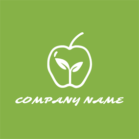 Green Apple and White Sprout logo design