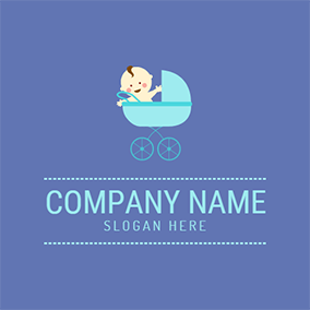 Green Baby Carriage and Cute Kids logo design