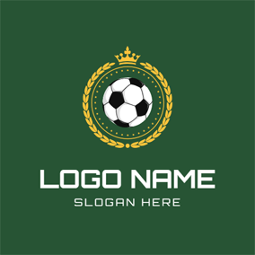 Green Background and Crowned Football logo design