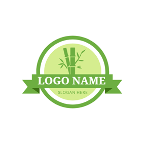 Green Badge and Bamboo logo design