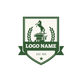 Green Badge and Book logo design