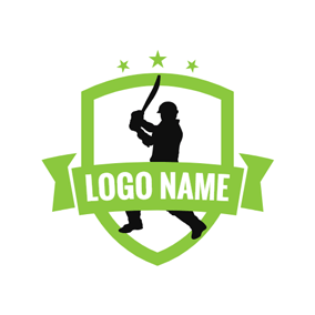 Green Badge and Cricket Sportsman logo design