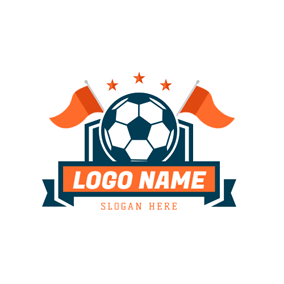 Green Badge and Flagged Football logo design