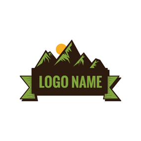 Green Badge and Mountain logo design